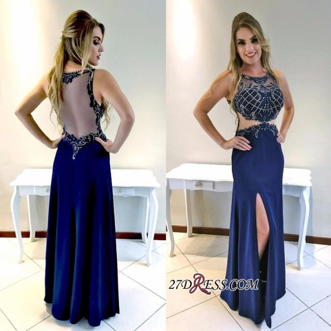 Navy Blue Mermaid Prom Dresses | Front-Split Crystal Floor Length Evening Gowns