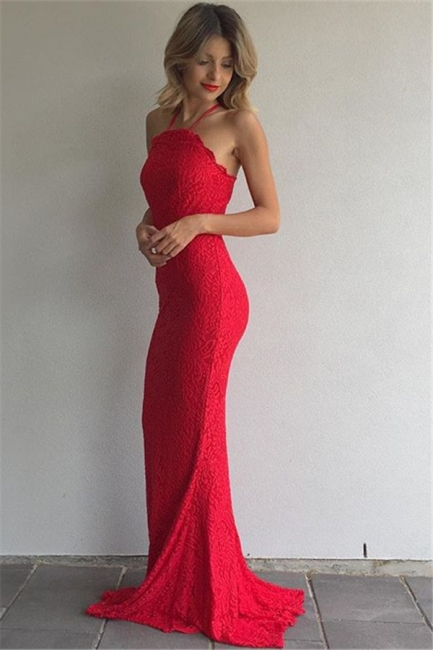 Simple Red Lace Prom Dresses Sheath Spaghetti Straps Evening Gowns