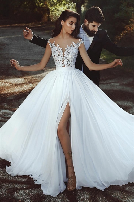 Lace Appliques Chiffon Wedding Dresses Sexy |  Front Slit sheer Cheap Bride Dress