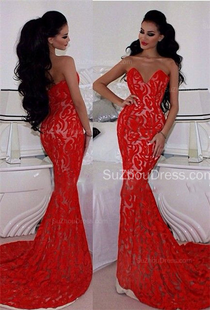 Charming Red Prom Dresses Sweetheart Memraid Ruffles Sleeveless Sexy Lace Sweetheart Evening Gowns