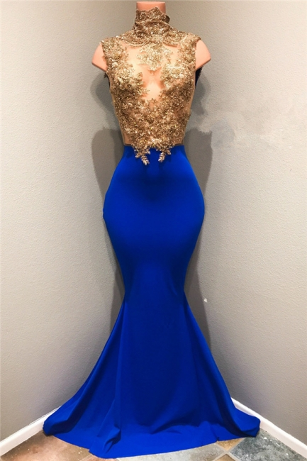 Gold Lace Appliques  Prom Dresses | High Neck Mermaid Royal Blue Evening Gown BA8174