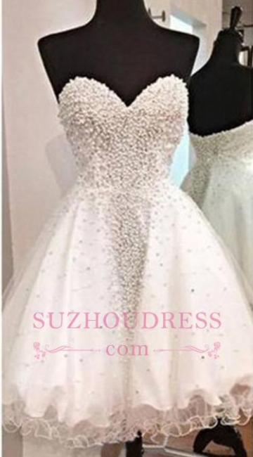 Short Open Back Sweetheart Crystal A-Line Glamorous  Homecoming Dress