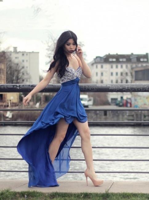 New Arrival Spaghetti Strap Crystal Prom Dress Chiffon Hi-Lo Formal Occasion Dress
