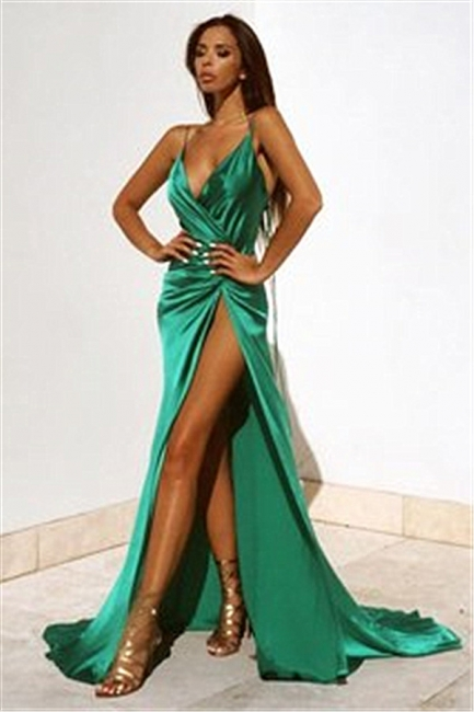 spaghetti straps sexy evening dress with slit   party dresses BA2119