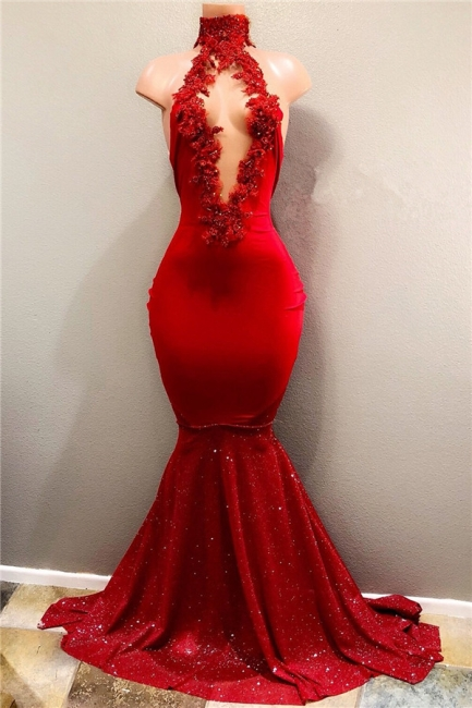 Sexy Red Appliques Mermaid Prom Dress | Sequins Deep V-neck   Evening Gown BA7962