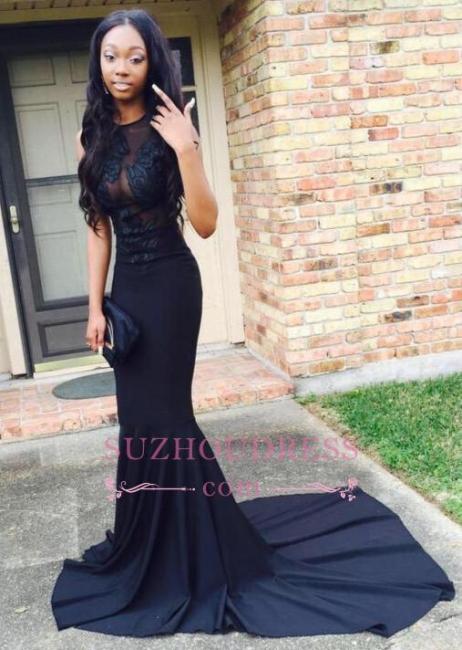 Black Sweep-Train Mermaid Lace-Appliques Sexy Prom Dress BA4826