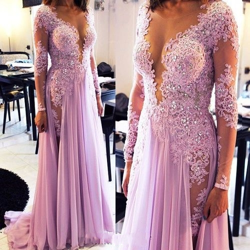 Scoop Sheer Top Lavender Evening Dresses  Chiffon Long Prom Dress CE027