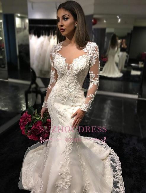 Charming Long Sleeves Mermaid Bridal Dresses  Tulle Appliques Mermaid Sheer Back Wedding Dress BA3741