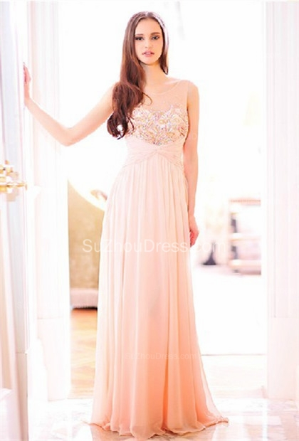 Pink Bridesmaid Dresses  Illusion Neck Sleeveless A Line Floor Length Crystal Beading Zipper Party Gowns