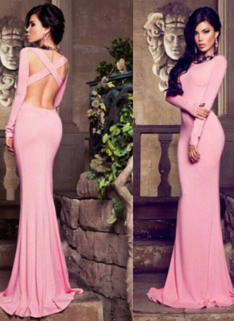 Sexy Mermaid Pink Long Evening Dress New Arrival Simple   Formal Occasion Dresses