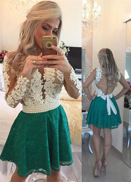 White Appliques Top Green Lace Skirt  Homecoming Dresses Long Sleeve Beaded Evening Gown BA3568