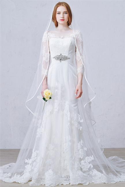 Latest Crystal Tulle Lace Wedding Dress Custom Made Long Sleeve Bridal Gowns with Wedding Veil