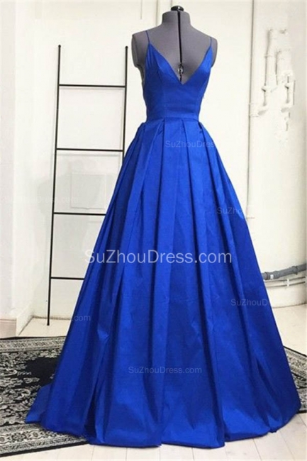 Sexy V Neck Backless Royal Blue Evening Dresses Ball Gown Open Back Formal Dresses for Graduation CJ0216