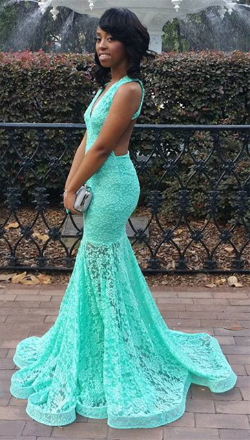 Turquoise Lace Dress for  Prom Sexy Open Back Memraid Evening Dresses