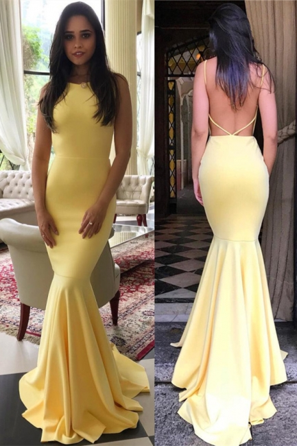 Backless Mermaid Yellow Formal Evening Dress | Sexy Sleeveless Sheath  Party Dress FB0354