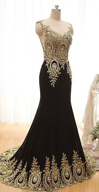 New Arrival Black Mermaid Prom Dress with Beadings Sweep Train Lace Evening Gown