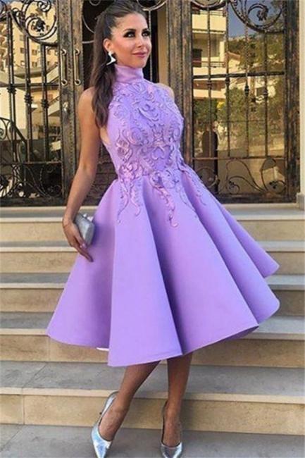 High Neck Lavender Appliques Evening Dresses | Sleeveless Knee Length  Formal Dresses
