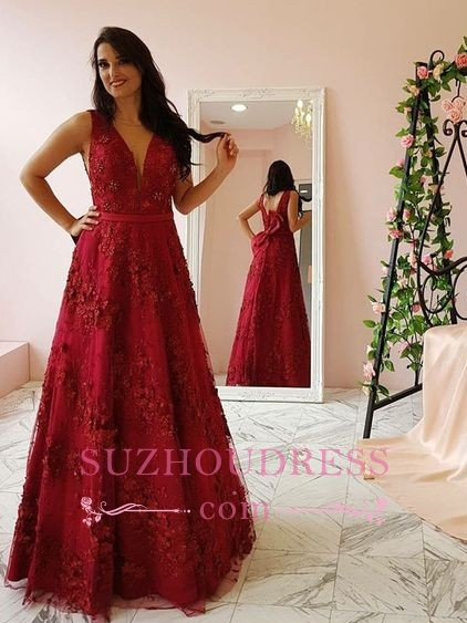 Burgundy Lace V-Neck Prom Dresses   Sleeveless A-line Evening Gowns