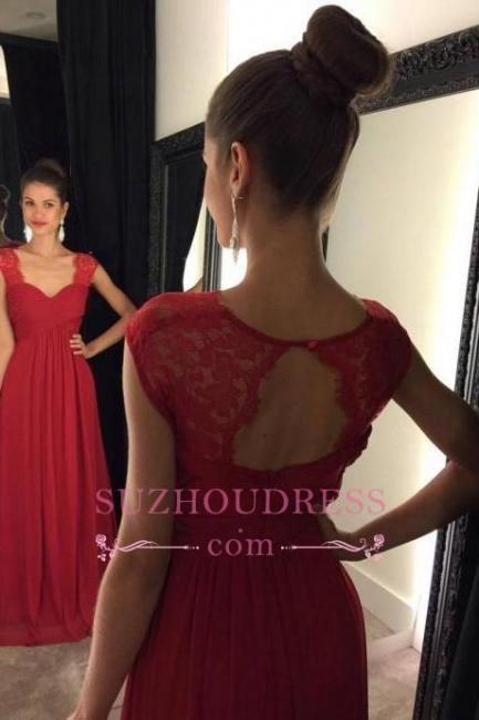 Formal Dress A-line Lace Modest Cap Sleeves Chiffon Floor Length Red Prom Dresses