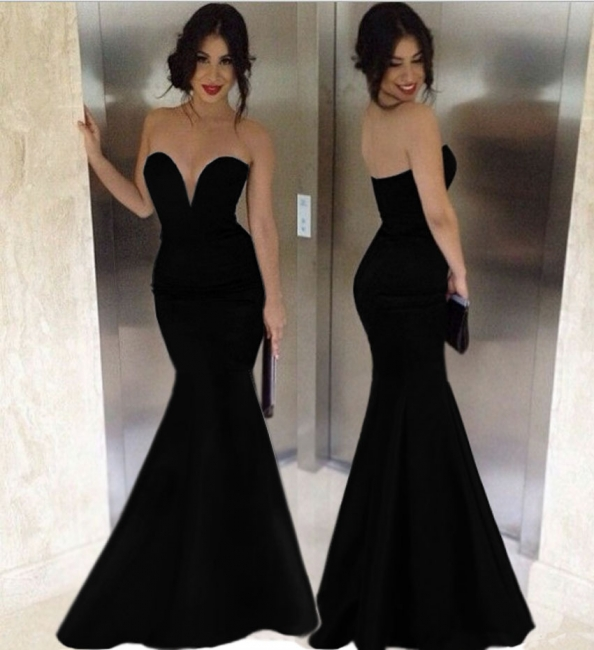 Black Mermaid Sexy Long Evening Dresses  Deep V Neck Floor Length Custom Made Prom Gowns CJ0159