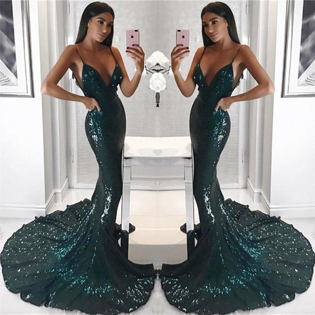Spaghetti Straps V-neck Shiny Sequins Evening Dresses | Sheath Long Train Sexy Prom Dresses 2019