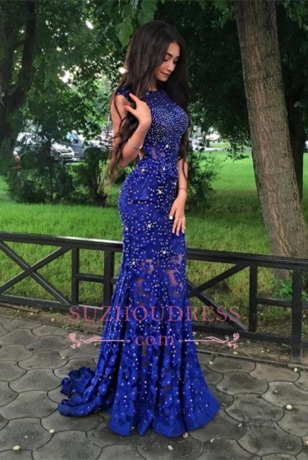 Lace-Appliques Royal-Blue Beads Sleeveless Gorgeous Mermaid prom dress BA4876