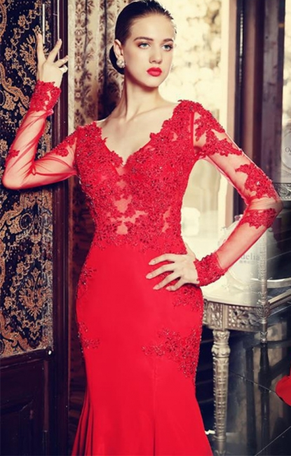 V-Neck Red Long Sleeve Beading Evening Dress Popular Chiffon Lace Sweep Train Prom Dress