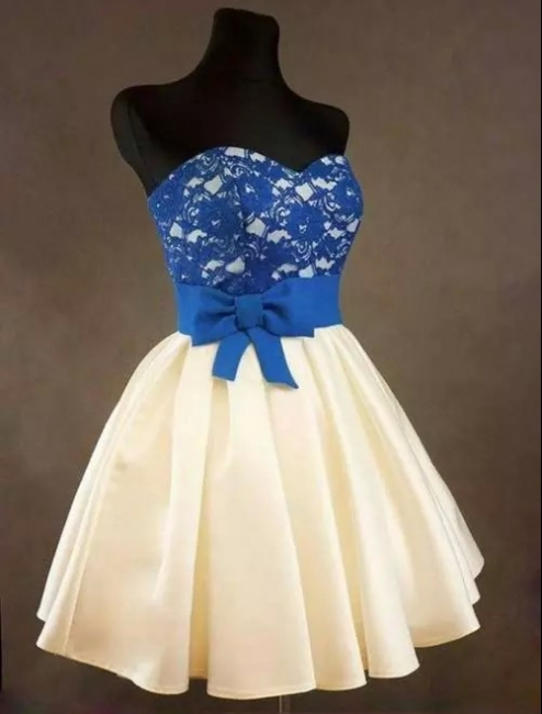 Sweetheart Royal Blue Lace  Homecoming Dress with bowknot Short Cute Evening Dresses BA3919