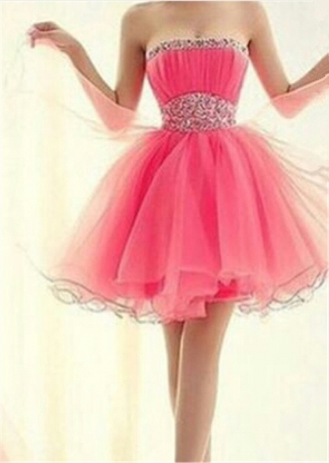 Cute Pink Strapless Crystal Short Cocktail Dresses Empire Organza Popular Mini Homecoming Dress with Beadings BA7322
