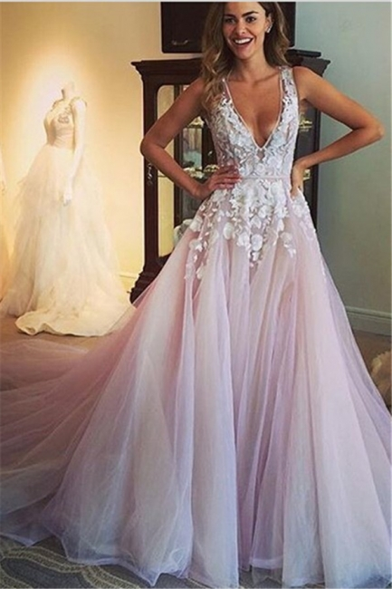 Deep V Neck Sexy Pink Wedding Dresses  Sleeveless Tulle Wedding Reception Dress with Flowers