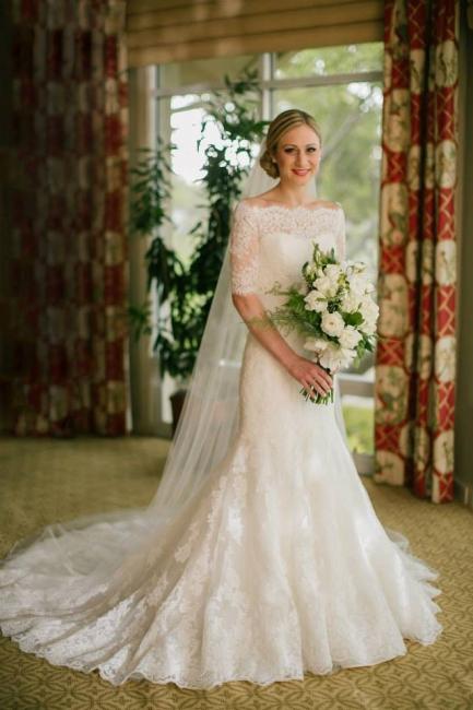 Half Sleeve Bateau Lace Wedding Dress Sheath Court Train  Bridal Gown