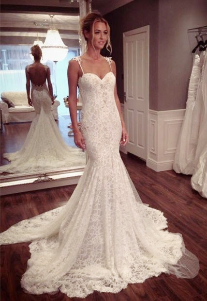 Sexy Lace Spaghetti Strap Mermaid Wedding Dress Latest Court Train Open Back  Bridal Gowns
