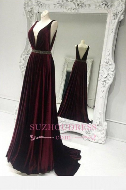 A-line Brads Burgundy Sweep-Train V-neck Sexy Zipper Sleeveless Prom Dress