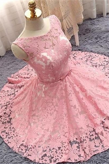 Lovely Pink Lace Short Summer Party Dress | Sleeveless  Mini Homecoming Dress