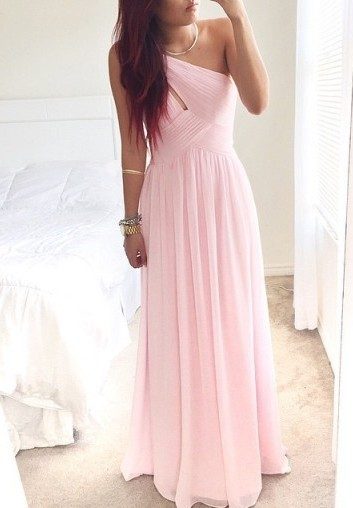 One Shoulder Pink Chiffon Prom Dress Ruffles A-Line Floor Length Summer Dresses