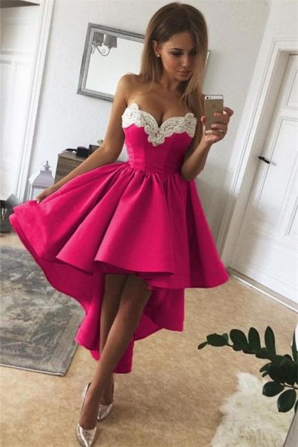 Sexy Hi-Lo Sweetheart Homecoming Dresses    A-Line Appliques Hoco Dresses