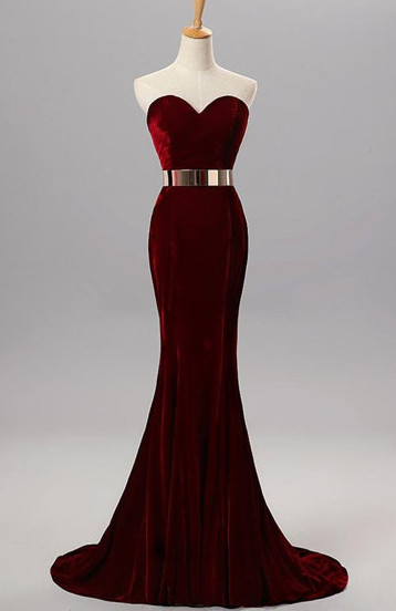 Burgundy Mermaid Sweetheart Evening Gowns with Belt Velvet Simple Formal Occasion Dress BA5060