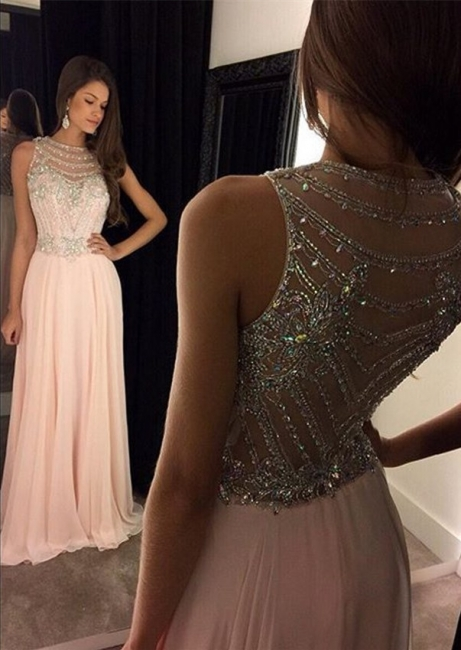 Sparkling Beading Pink Long Prom Dress New Arrival Chiffon  Evening Gown GA026