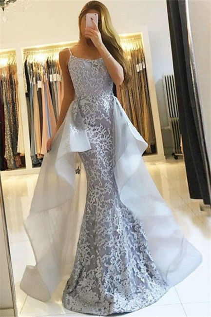 Mermaid Lace New  Prom Dresses    Straps Sexy Evening Gown with Tulle Overskirt Train