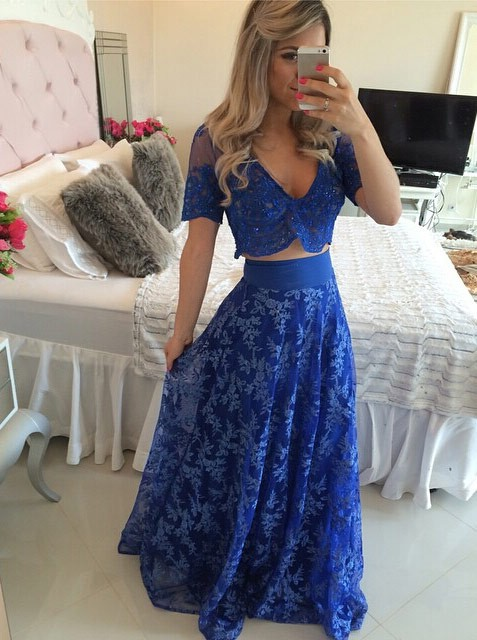 Blue Short Sleeve Two Pieces Prom Dress V-Neck Lace Floor Length Formal Occasion Dress