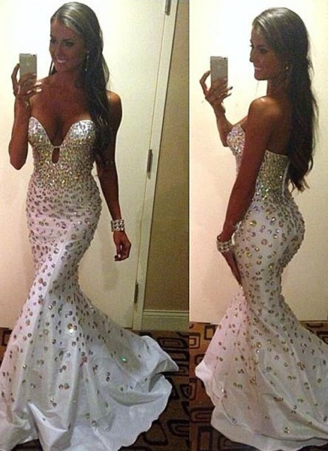 White Sexy Crystal Mermaid Long Evening Dress New Arrival Trumpet Sequins Formal Occasion Dresses