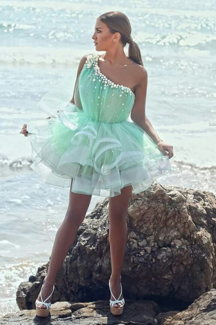 Green One Shoulder Beading Mini Homecoming Dresses Latest Flowers Organza Custom Made Cocktail Dress