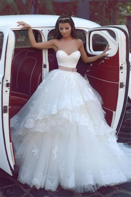 Sweetheart Ruffles Lace Wedding Dresses Strapless Tulle  Bridal Gowns BA5565