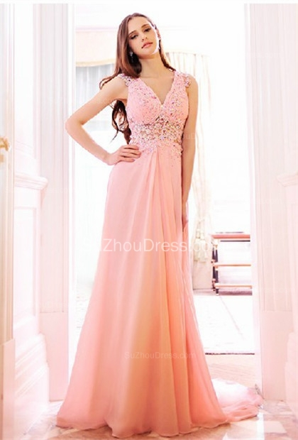 Pink Bridesmaid Dresses  V Neck Sleeveless Sweep Train Appliques See Through Beading Sequins Party Gowns
