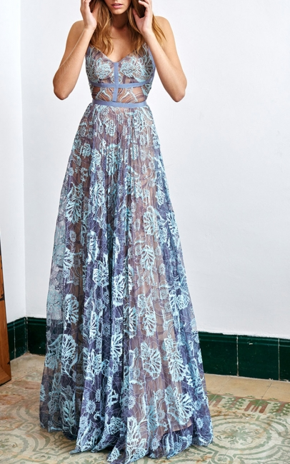 Straps Blue Lace Sheer Long Prom Dresses  New Arrival Sleeveless Evening Gown