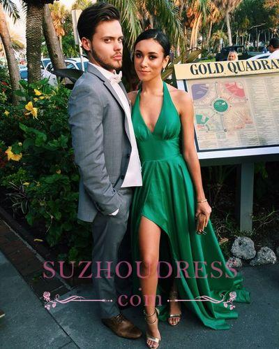 V-Neck Sleeveless Side Slit  Green Sexy A-Line Prom Dress