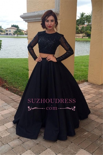 Long Sleeves Beaded Two Pieces Evening Dress Black A-Line  Prom Dress BA4617