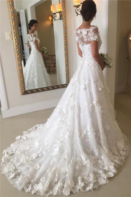 Short Sleeves A-line Flowers Wedding Dresses  Appliques Princess Bride Dress
