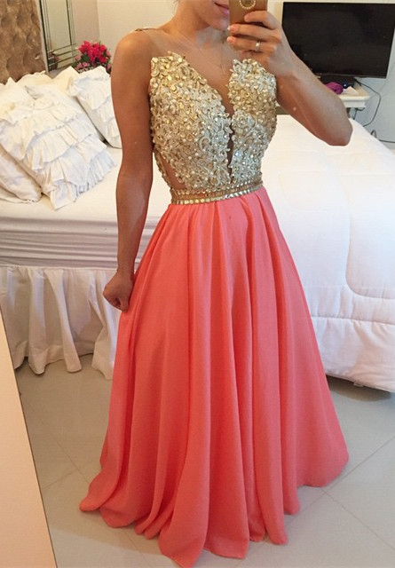 New Arrival A-Line Chiffon Prom Dress with Beadings Lace Floor Length Evening Dresses BMT031