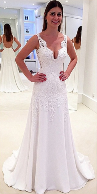 New Arrival Lace Open Back Bridal Gowns Sleeveless Sweep Train  Wedding Dresses